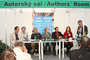 Mikael Niemi, Jean-Marie Blas de Robles, George Blecher, Sarah Waters, Veijo Baltzar, Maria Peura, David Vaughan (left to right), photo: author