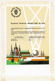 Osvědčení Monitor klubu Radia Praha