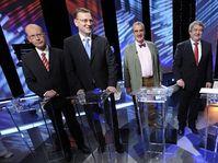Bohuslav Sobotka, Petr Nečas, Karel Schwarzenberg, Vojtěch Filip, Radek John, photo: CTK