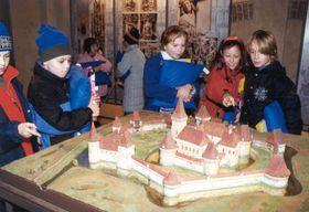 Schoolchildren enjoying the exhibition