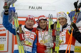 Lukáš Bauer, Petter Northug, Marcus Hellner (left to right), photo: CTK