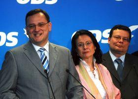 Petr Nečas, Miroslava Němcová y Alexandr Vondra. Foto: ČTK