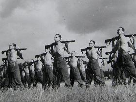 Josef at an army drill