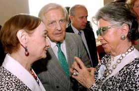 Miroslav Turek and his wife Ludmila with art benefactress Meda Mladkova, photo: CTK