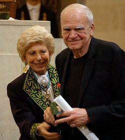 Milan Kundera et Hélène Carrère d'Encausse, photo: CTK