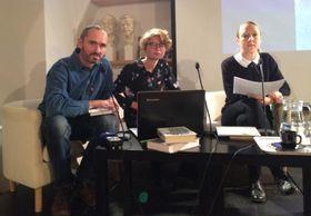 Лукаш Бабка, Алена Махонинова и Мария Штипкова на презентации книги, фото: Катерина Айзпурвит