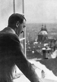 Adolf Hitler at the window of Prague Castle
