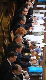 Členové Kabinetu Mirka Topolánka při mimořádném zasedání Poslanecké sněmovny, foto: ČTK