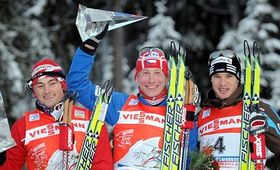 Petter Northug, Lukáš Bauer, Dario Cologna, photo: CTK