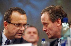 Miroslav Kalousek, el nuevo presidente del Partido Demócrata Cristiano con Cyril Svoboda, foto: CTK