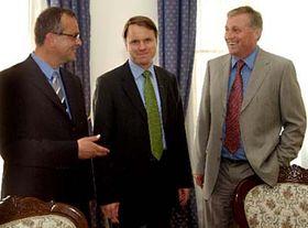 zleva: Miroslav Kalousek, Martin Bursík aMirek Topolánek, foto: ČTK