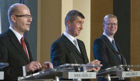 Bohuslav Sobotka, Andrej Babiš, Pavel Bělobrádek, foto: ČTK