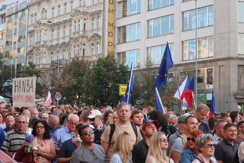 Демонстрация на Вацлавской площади 21 августа 2019 г., фото: Мартина Шнайбергова