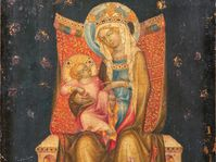 Le tableau médiéval attribué au maître de Vyšší Brod représentant une Vierge à l'enfant en trône, photo: Galerie nationale de Prague