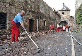 Hrad Pernštejn po požáru, foto: ČTK