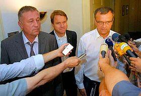 Mirek Topolánek, Martin Bursík aMiroslav Kalousek, foto: ČTK