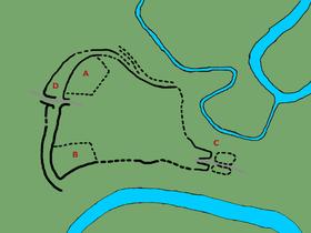 план Тршисовского оппида: A – северный акрополь со святилещем, B – южный акрополь, C – восточные ворота с выдвинутыми бастионами,  D – двойные западные ворота, где находился источник воды, Фото: Gortyna, CC BY-SA 4.0