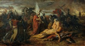 Schlacht auf dem Marchfeld (Anton Romako: Rudolf von Habsburg an der Leiche Přemysl Ottokars, Quelle: Österreichische Galerie Belvedere, Wikimedia Commons, Public Domain)