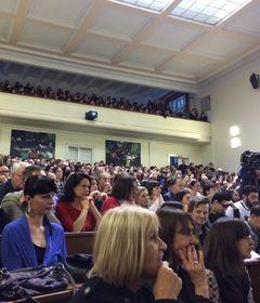 Зал философского факультета был переполнен, Фото: Катерина Айзпурвит