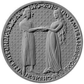The silver coin marking the anniversary