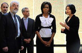 Leo Pavlát (Director of Jewish Museum), Michelle Obama, Michaela Sidenberg (left to right), photo: CTK