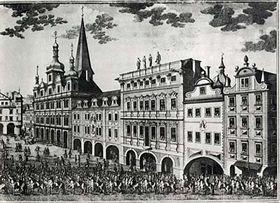 Rytina od Jana Josefa Dietzlera zroku 1743 - vlevé části je zobrazena nynější Malostranská beseda, tehdy ještě se třemi věžemi, foto: ČTK