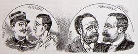 La caricature qui représente la ressemblance de l'affaire Hilsner et Dreyfus, 1900