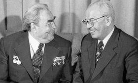 Former Soviet leader Leonid Brezhnev, Gustáv Husák