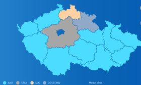 El mapa de ganadores las elecciones regionales, fuente: ČT