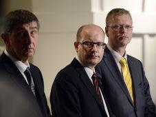 De izquierda: Andrej Babiš, Bohuslav Sobotka y Pavel Bělobrádek, foto: ČTK