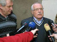 President Vaclav Klaus' visit at Milos Zeman's cottage, photo: CTK
