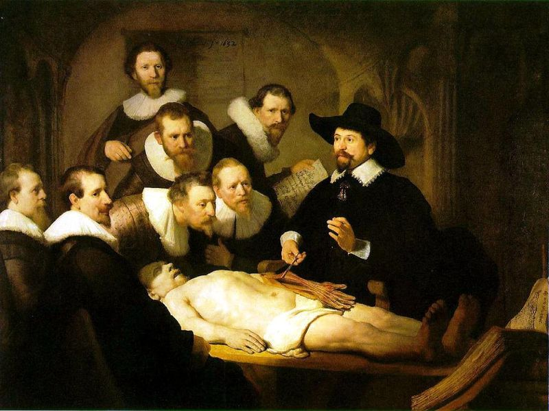 Rembrandt van Rijn: Hodina anatatomie doktora Tulpa (1632), ilustrační foto: Wikipedia, public domain