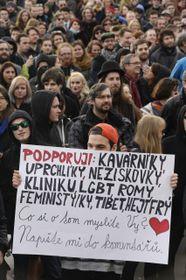 Демонстрация против проявлений ненависти, которая прошла на этой неделе в Праге, Фото: ЧТК