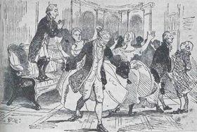 Suvorov juega a las escondidillas con la aristocracia checa (Dibujo: Taras Shevchenko)