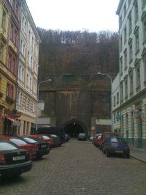 The pedestrian tunnel under Vítkov hill