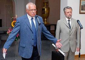 Prezident Václav Klaus aministr vnitra František Bublan, foto: ČTK