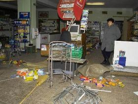 Looted shop, photo: CTK