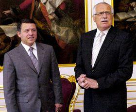 Rey de Jordania, Abdalá II, y el presidente checo, Václav Klaus (Foto: CTK)