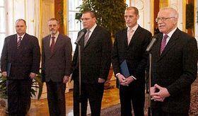 Pavel Rezabek, Robert Holman, Miroslav Singer, Zdenek Tuma and Vaclav Klaus, photo: CTK