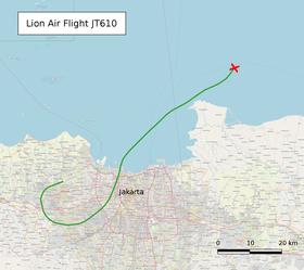 Ein Flugzeug der indonesischen Lion Air stürzte ins Meer (Quelle: Phoenix7777, OpenStreetMap, CC BY-SA 2.0)
