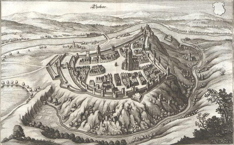 Tábor en 1620, source: Martin Zeiller / Matthäus Merian, Topographia Bohemiae, Moraviae Et Silesiae, public domain