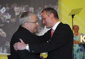 Jan Březina congratulates Cyril Svoboda (right), photo: CTK