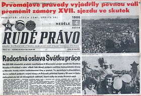 Rudé Právo, the first page, May 4, 1986
