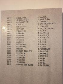 Pamětní deska se jmény vítězů Velké pardubické, foto: Zdeňka Kuchyňová / Český rozhlas - Radio Praha