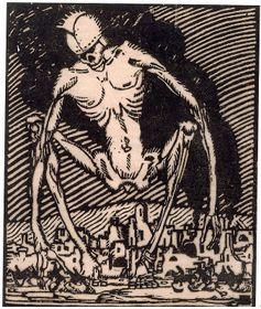 Альфред Кунфт: «Скелет над городом, разрушенным войной», 1920-е г. (Фото: Либерецкая галерея)