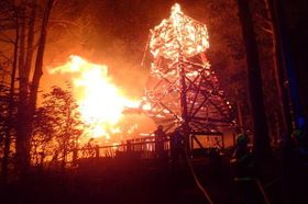 Wooden church in Guty on fire, photo: archive of Fire Rescue Service of the Moravian-Silesian Region