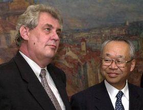 Milos Zeman and Vice President of Toyota Joshio Ishizaka, photo CTK
