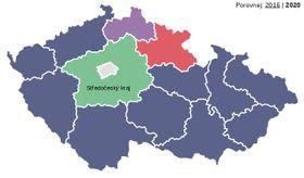 Los resultados de las elecciones regionales, fuente: ČRo