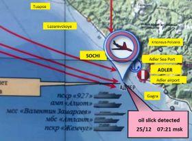 Mapa svyznačením nehody letadla se souborem Alexandrovců, zdroj: Ministerstvo obrany Ruské federace