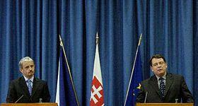 Primer ministro checo, Jirí Paroubek y su homólogo eslovaco, Mikulás Dzurinda (Foto: CTK)